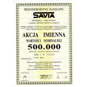 SAVIA Przedsiębiorstwo Handlowe - 500.000 złotych 1991 - imienna