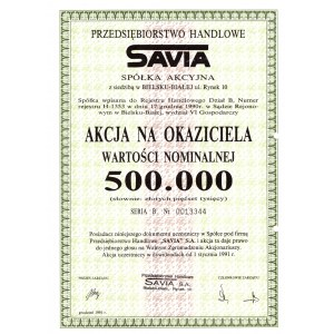 SAVIA Przedsiębiorstwo Handlowe - 500.000 złotych 1991 - na okaziciela