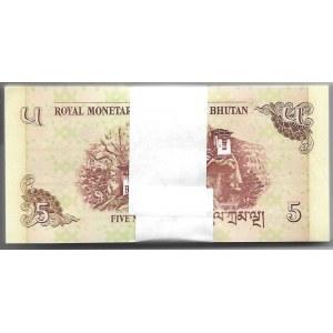 BHUTAN - paczka bankowa 100 x 5 Ngultrum 2006