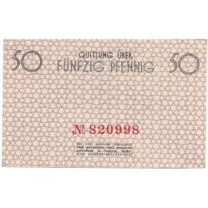 GETTO w ŁODZI - 50 fenigów 1940 - czerwony numerator