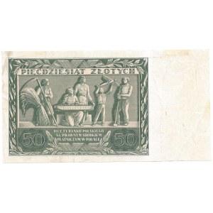 50 złotych 1936 - AD - awers bez druku głównego