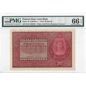 20 marek polskich 1919 - II Serja EN - PMG 66 EPQ