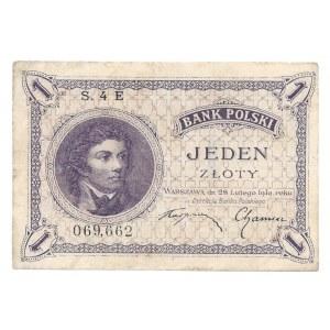 1 złoty 1924 - S.4.E - rzadsza jednoliterowa seria