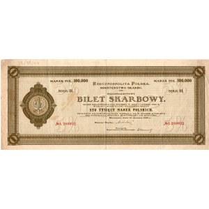 BILET SKARBOWY - 100.000 marek polskich 1923 - Serja III