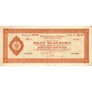 BILET SKARBOWY - 500.000 marek polskich 1923 - serja IV
