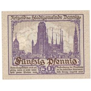 GDAŃSK / DANZIG - 50 fenigów 1919 - druk fioletowy