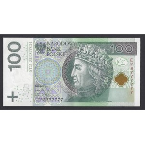 100 złotych 2018 - seria EP atrakcyjna numeracja 8777777