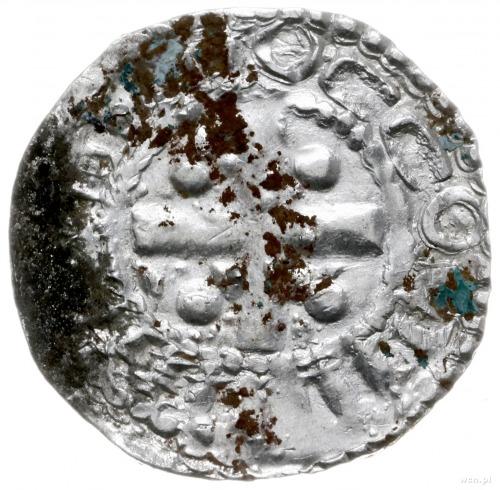 denar 936-973; Aw: Krzyż prosty z kulkami w kątach, wok...