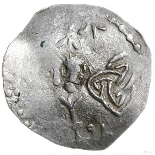 denar 1002-1024; Aw: Krzyżz kulkami w kątach, wokoło f...