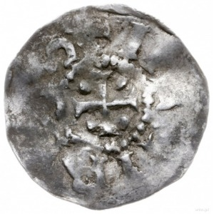 denar 1014-1024; Aw: Krzyż z kulkami w kątach, wokoło f...
