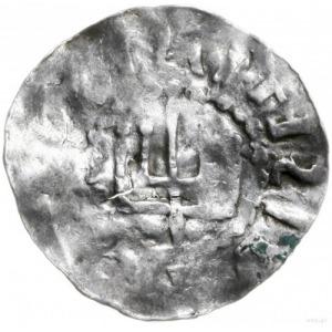 denar 1030-1045; Aw: Głowa brodatego władcy trzy-czwart...