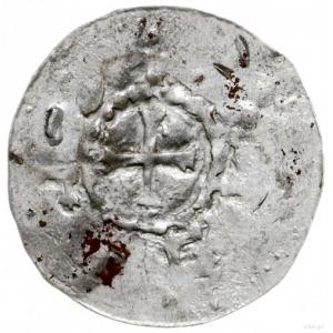 denar przed 1050; Aw: Krzyż, wokoło napis; Rw: Kapliczk...