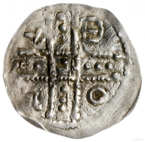 denar ok. 1185/90-1201, men. Wrocław; Aw: W 4 polach dw...