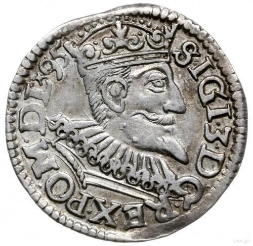 trojak 1595, Wschowa; na rewersie końcówka POLONIA i kr...