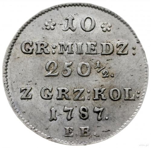 10 groszy miedziane 1787, Warszawa; Plage 232; wyśmieni...