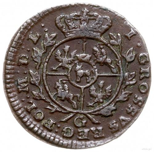 grosz 1766/G, Kraków; odmiana z duża literą G pod tarcz...