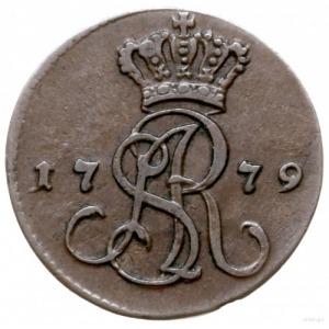 grosz 1779/E.B., Warszawa; odmiana z niską położono kor...