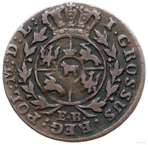 grosz 1783/E.B., Warszawa; szeroka korona nad monograme...