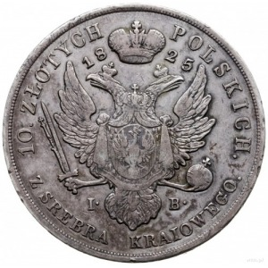 10 złotych 1825 I.B., Warszawa; Aw: Głowa cara w prawo ...