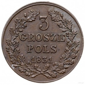 3 grosze polskie 1831, Warszawa; łapy Orła proste, z kr...