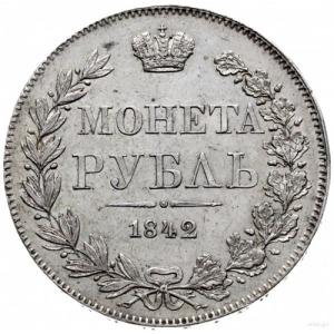 rubel 1842, Warszawa; odmiana z prostym ogonem Orła i n...