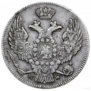 30 kopiejek = 2 złote 1841, Warszawa; wariant z wystają...