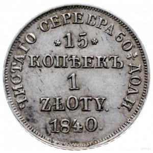 15 kopiejek = 1 złoty 1840 Н-Г, Petersburg; Plage 416, ...