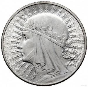 10 złotych 1932, Londyn; głowa kobiety w czepcu; Parchi...
