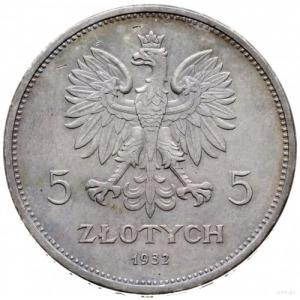 """5 złotych 1932, Warszawa; """"Nike""""; srebro 17.94 g; lekko..."""