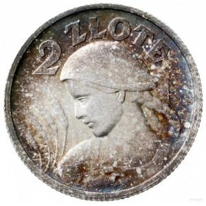"""2 złote 1924 """"róg i pochodnia"""", Paryż; popiersie kobiet..."""