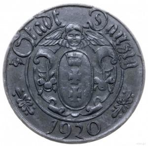 10 fenigów 1920, Gdańsk; odmiana z dużymi cyframi nomin...