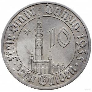 10 guldenów 1935, Berlin; Ratusz Gdański; Jaeger D.20, ...