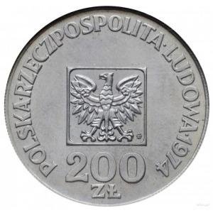 200 złotych 1974, Warszawa; XXX LAT PRL, na rewersie wy...