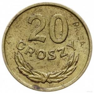 20 groszy 1957, Warszawa; na rewersie wklęsły napis PRÓ...