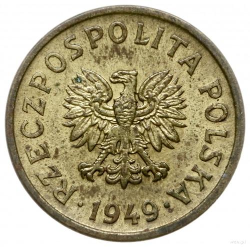 10 groszy 1949, Warszawa; na rewersie wklęsły napis PRÓ...