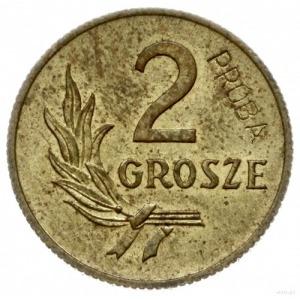 2 grosze 1949, Warszawa; na rewersie wklęsły napis PRÓB...
