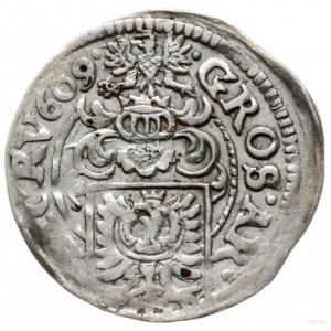 3 krajcary 1609, Cieszyn; bez liter HT, Orzeł z przepas...