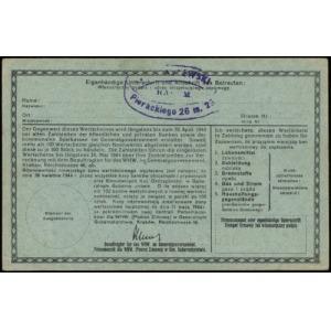 2 złote 1943-1944; numeracja 0151071, niewypełniony bla...