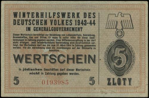 5 złotych 1943-1944; numeracja 0193985, niewypełniony b...