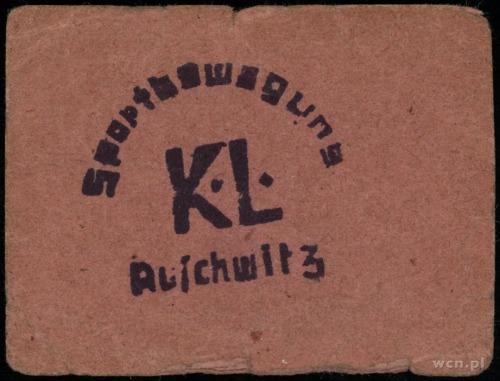 K. L. Auschwitz; bon Sportbewegung; czerwony karton 57x...
