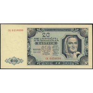 20 złotych 1.07.1948; seria CK, numeracja 6450690; Luco...