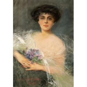 Julian AJDUKIEWICZ (1883 - 1941), Portret kobiety z bukietem fiołków, 1916