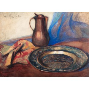 Teodor Grott (1884 Częstochowa - 1972 Kraków), Martwa natura z talerzem, 1912 r.