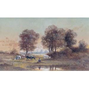 Czesław Borys Jankowski (1862 Warszawa-1941 Sceaux), Pejzaż z pastuszką krów i Krakowem w tle, 1887