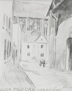 Stanisław KAMOCKI (1875-1944), Widok na ulicę Poselską i kościół Dominikanów w Krakowie, ok. 1910
