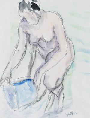 Leopold GOTTLIEB (1883-1933), Akt - kąpiąca się