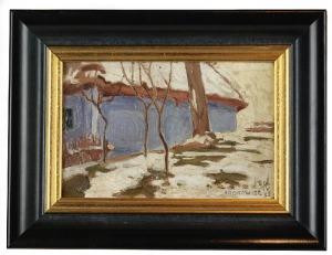 Stanisław KAMOCKI (1875-1944)-przypisywany, Chałupa w Bronowicach zimą, 1893