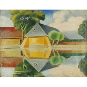 Karol HILLER (1891-1939), Pejzaż z rzeką, 1925