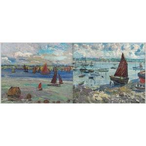 Léon KAUFMANN KAMIR (1872-1933), Regaty w Tréboul (Finiste`re) - para obrazów, 1909