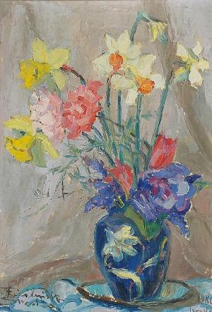 Halina CIEŚLIŃSKA-BRZESKA (1923-2004), Kwiaty w wazonie - Imieninowy bukiet
